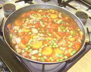Cooking guide dish being cooked